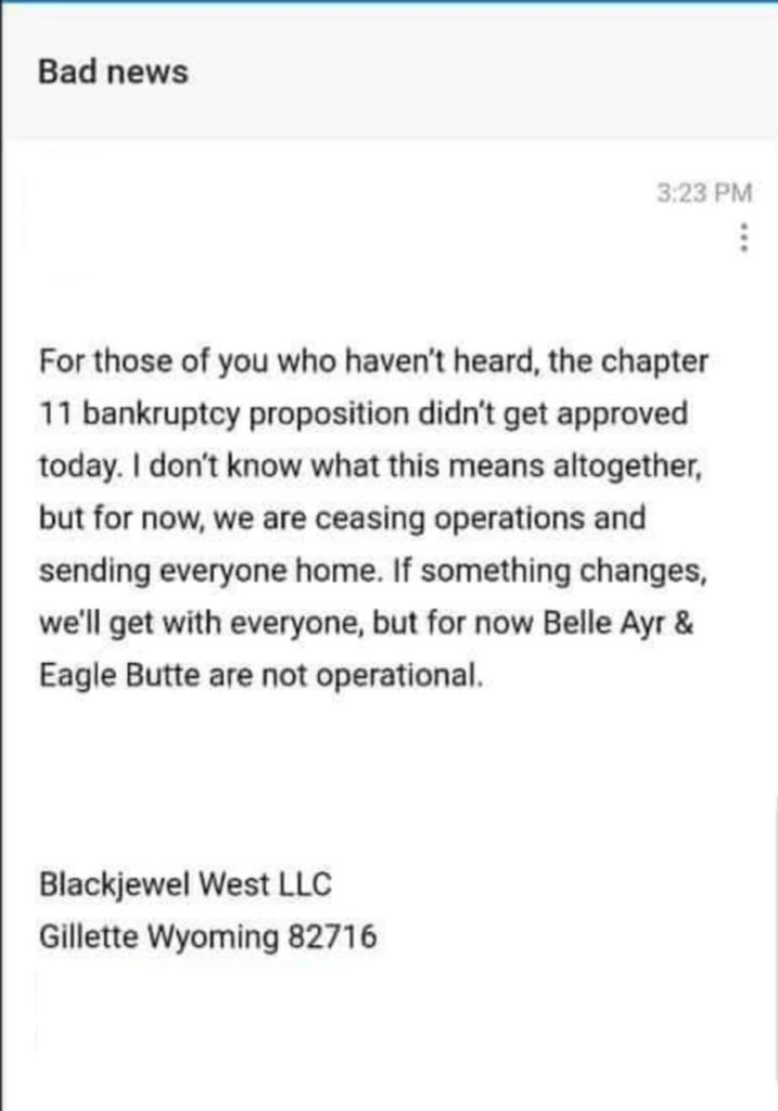 Black Jewel Abruptly Closes It's Belle Ayr & Eagle Butte